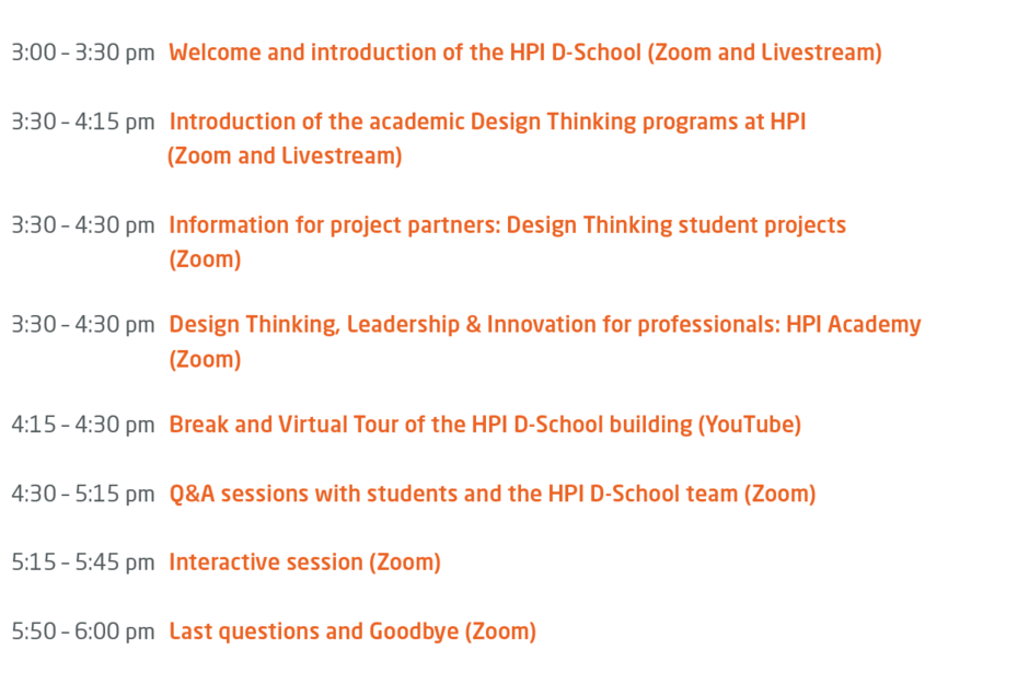 Program HPI D-School Open House