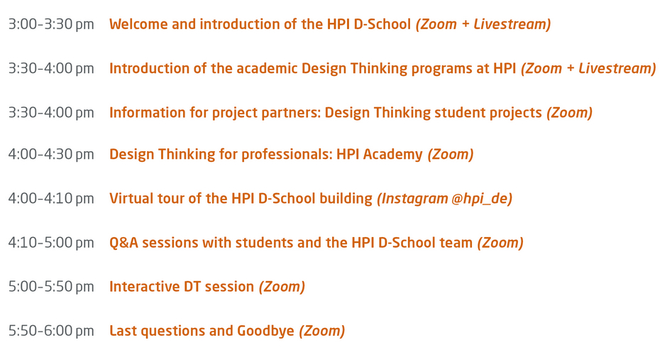 HPI D-School Virtual Open House Program
