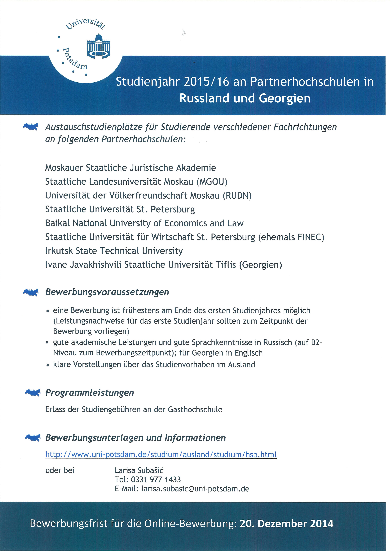 stipendienprogramm und partneruniversitten der uni potsdam - Potsdam Uni Bewerbung