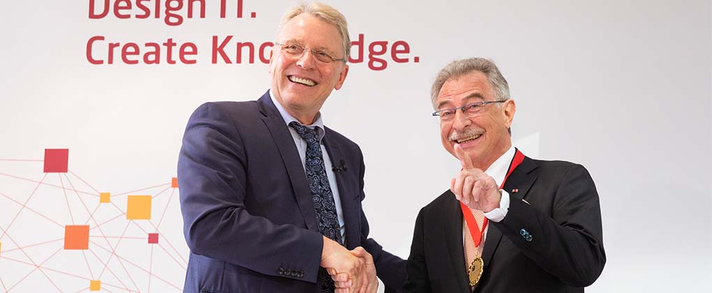 HPI Director Prof. Christoph Meinel with HPI Fellow Dieter Kempf